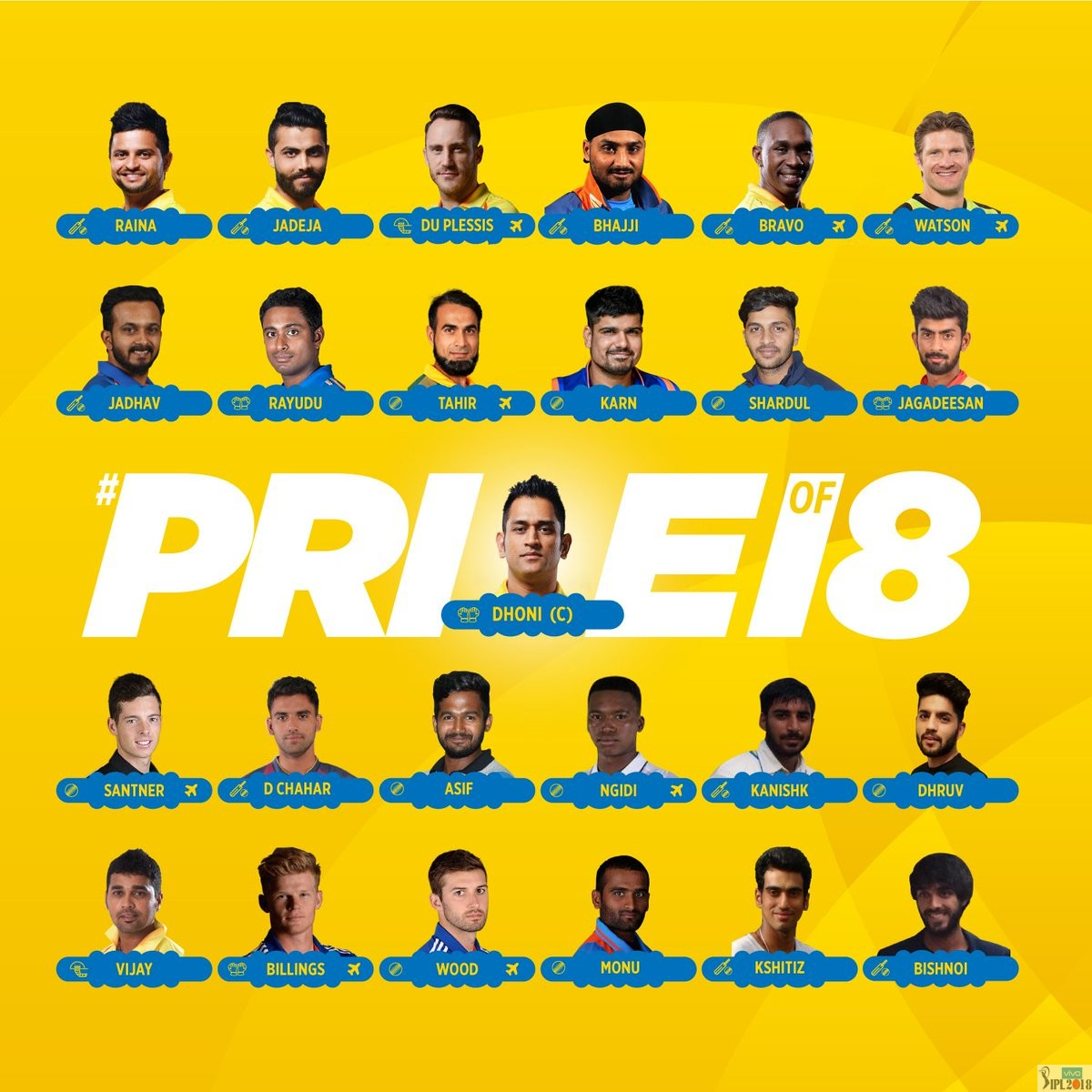 ipl 2018 chennai super kings team squad and players list